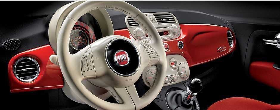 Fiat 500C Tableau red