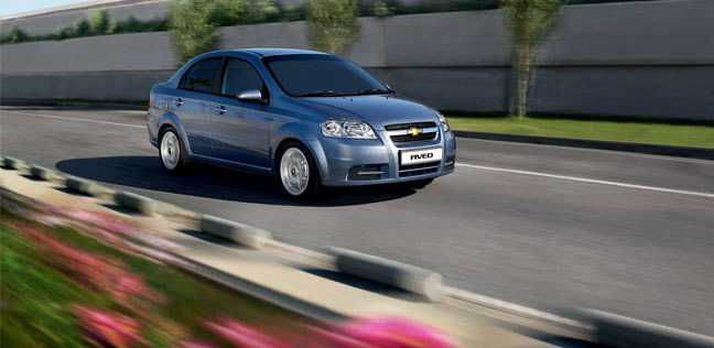 Chevrolet aveo from front on way